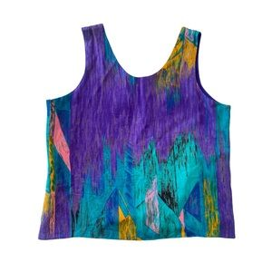 Vntg 80s Cropped Tank Top Purple Silky Abstract M